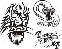 head lion dragon lizard road symbols vector