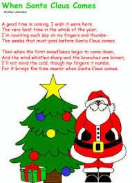 when santa claus comes poem december preschool christmas