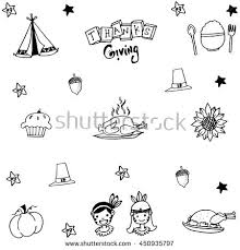thanksgiving doodle set draw illustration stock vector