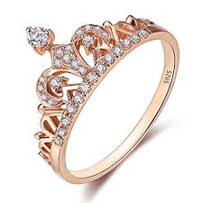 rings girl images 925 sterling silver crown ring rose gold plated princess tiara jpg