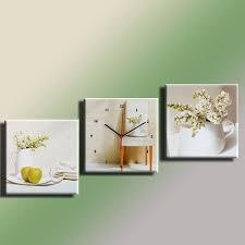 cadre cuisine cadres tableau cadre pendule tryptique lilas blanc 30 x30 cm