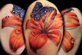 purple butterfly and tiger lily tattoo idea