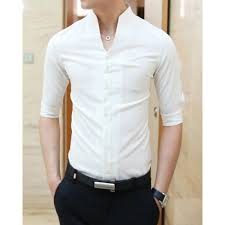 11 33 casual style slimming half sleeves stand collar solid color