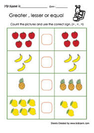 greater than less than equal to worksheets for kindergarten free