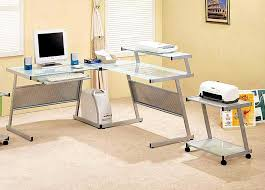 Glass Top Computer Desks For Home Glass Top Computer Desk With Shelves For Small Space And Creamy