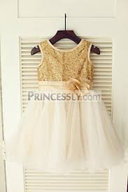 wedding flower dresses gold sequin ivory tulle wedding flower dress with chagne belt