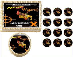 wars edible image nerf wars gun n strike edible cake topper image frosting sheet