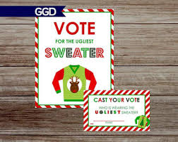 Ugly Christmas Sweater Party Supplies by Printable Vote Sign Etsy
