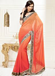 peach color faux chiffon sari