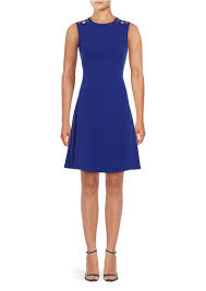 calvin klein calvin klein button shoulder fit and flare dress