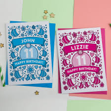 personalised bee s illustrated 11th birthday card by a is for