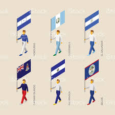 Football Country Flags Set Of 3d Isometric People With Flags Of Caribbean Countries Stock