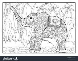 coloring page elephant jungles horizontal outlined stock vector