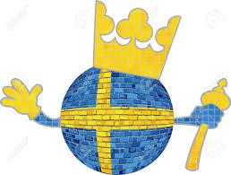 Sweedish Flag Ball With Sweden Crown Illustration Brick Ball With Swedish