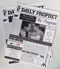 Newspaper Wedding Program Wedding Online Moodboards 13 Ideas For A Harry Potter Themed