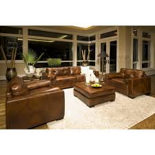 dark brown distressed leather sofa combined varnished wooden