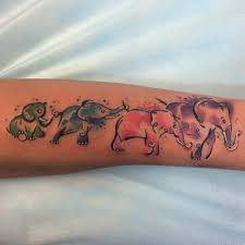 watercolor elephant family design for forearm