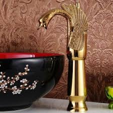 Swan Faucet Gold Classic Bathroom Sink Faucet With Lever Handle
