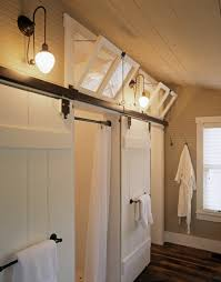 barn doors at the water closet and shower heart pine floors