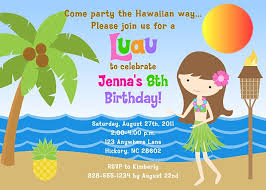 hula luau birthday party invitations note cards labels
