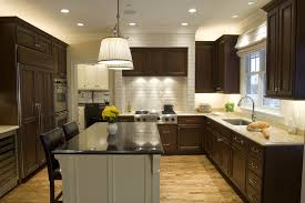 u shaped kitchen layouts with island narrow u shaped kitchen layout with hanging lights above black