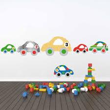 autocollant chambre bébé sticker mural voitures motif enfant garçon pour chambre d