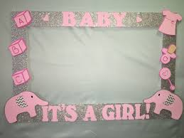 pink and silver baby shower photo booth frame to take pictures elephant birthday baby shower