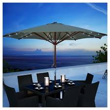 Patio Umbrella Canopy Corliving Taupe Patio Umbrella With Solar Power Led Lights Target