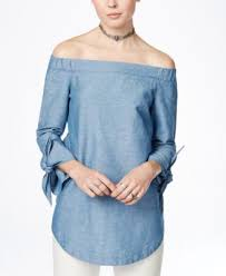 chambray blouse free shoulder tie cuff chambray blouse tops