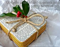 house revivals make a pretty hostess gift from upcycled coasters