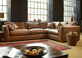Large Brown Leather Sofa Corner Sofa Collection From George