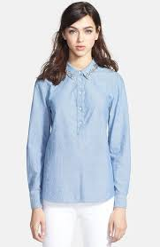 chambray blouse kate spade york xander embellished chambray shirt where to
