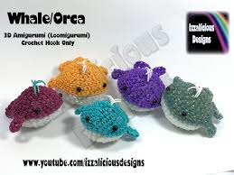 rainbow loom 3d amigurumi whale orca loomigurumi crochet hook