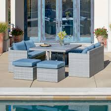 Rattan Patio Dining Set Corvus Martinka 7 Grey Wicker Patio Dining Set Free