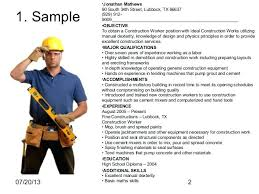 resume entry level construction worker resume sample 2