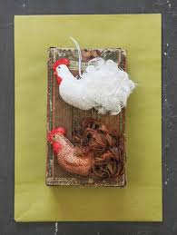 beautiful feather rooster ornaments set 2 nova68