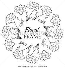 vector flower frame sketch flower wreath stock vector 428895517
