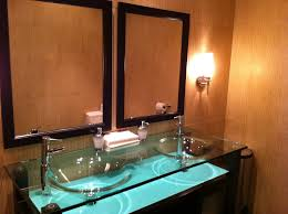 modern glass countertops with glass vessel sinks built in
