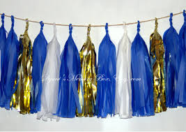 royal blue tissue paper set of 15 mixed gold royal blue white party tissue paper tassels