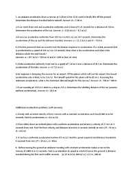 Speed Velocity And Acceleration Worksheet With Answers Problems Acceleration Velocity