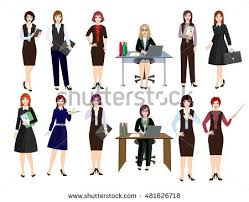 women engage office work different types stock vector 481626718