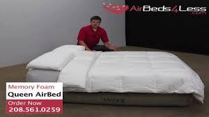 intex raised queen memory foam air bed khaki youtube