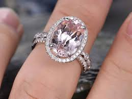 real wedding rings images 8x14mm oval morganite engagement ring solid 14k white gold wedding jpg