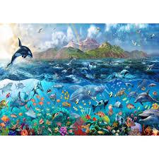 Giant Wall Murals by Rainbow Tropical Underwater Ocean Sea Life Wallpaper Mural Giant Decor