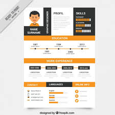 Infographic Resume Template Free Orange And Black Resume Template Vector Free