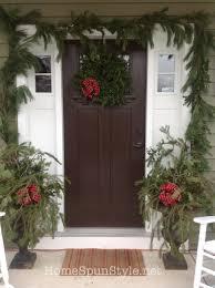 semi fresh wreath and garland home spun style
