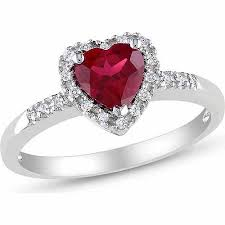 heart ring tangelo 1 carat t g w created ruby and 1 10 carat t w diamond