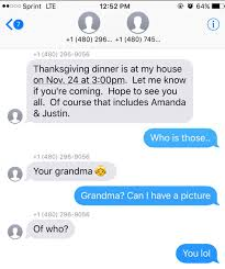 accidentally texts wrong about thanksgiving dinner
