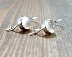 vire earrings sterling silver and moonstone kidney wire earrings bloomingoak