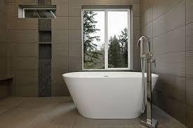 modern master bathroom with specialty tile floors u0026 high ceiling